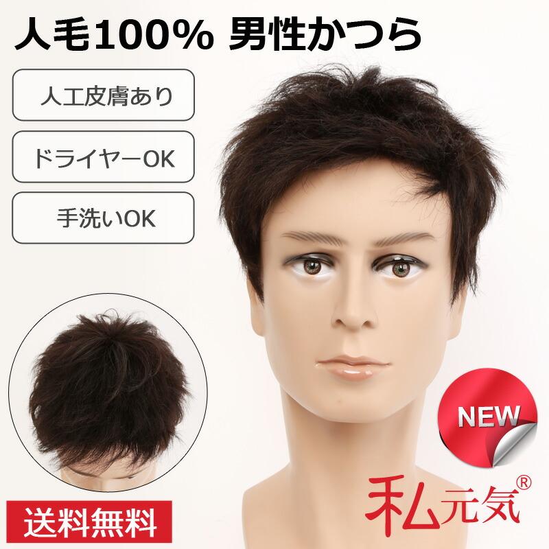 人毛100% 男性 かつら 医療用 ウィッグ 人毛 フルウィッグ ウイッグ メンズ 私元気 GI002