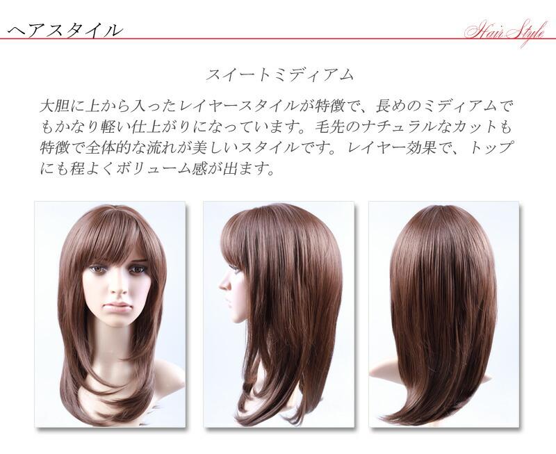 ヘアスタイル説明画像、スイートミディアムは、大胆レイヤースタイルです。軽い仕上がり、ナチュアルな毛先が特徴です。
