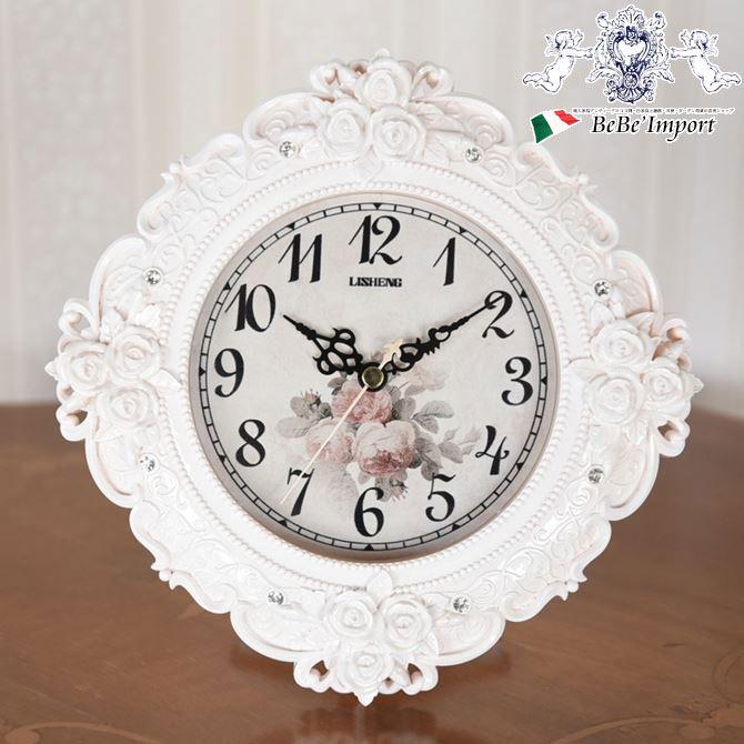 ロココ調 ラウンド薔薇の置き掛け兼用時計 WH