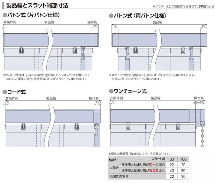 タチカワブラインド 縦型ブラインド ラインドレープ「マカロン」製品幅とスラット端部寸法