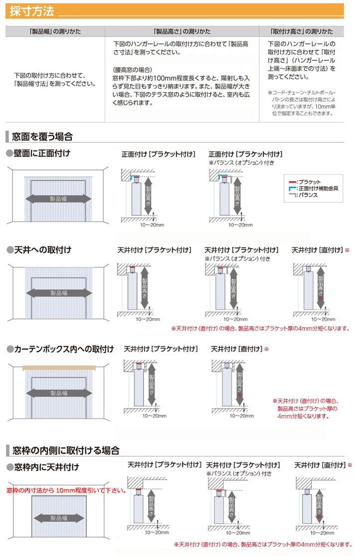 タチカワブラインド 縦型ブラインド ラインドレープ「マカロン」採寸方法
