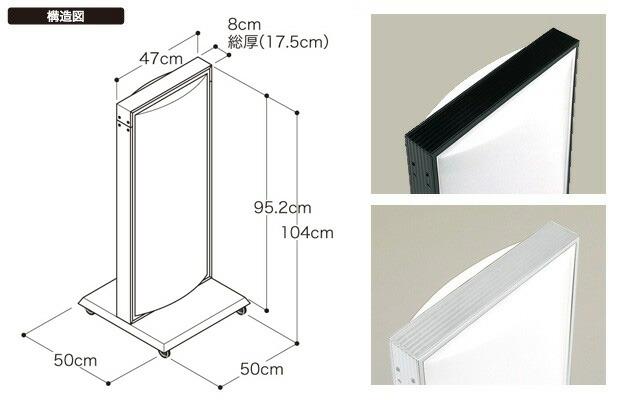 電飾スタンド看板(タテ104cm×ヨコ50cm)構造