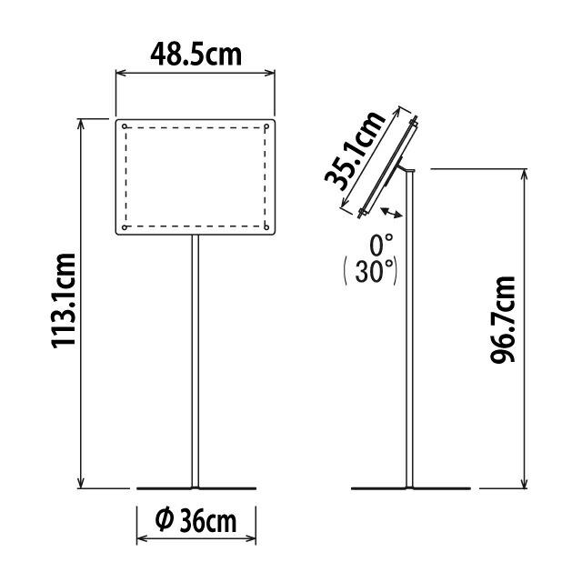 スライドファイル式フロアスタンド/A3ヨコ寸法