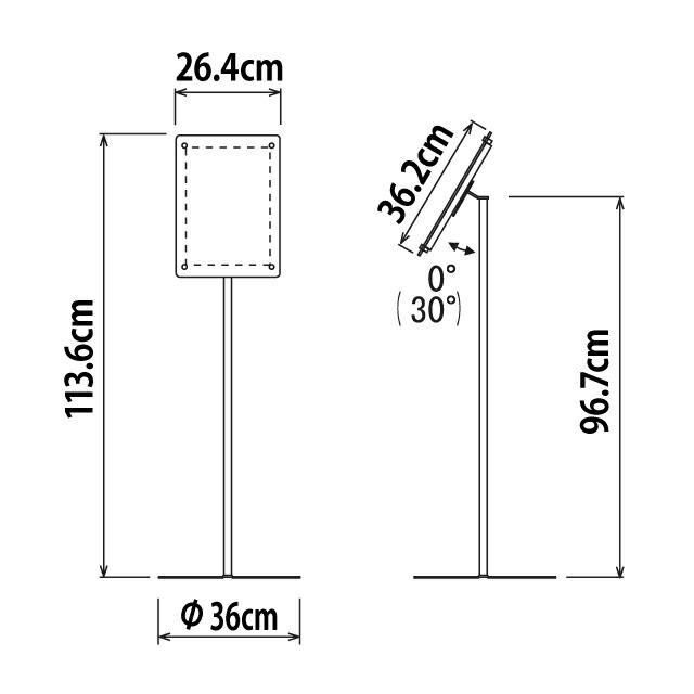 スライドファイル式フロアスタンド/A4タテ寸法