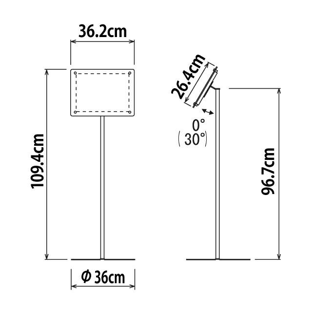 スライドファイル式フロアスタンド/A4ヨコ寸法
