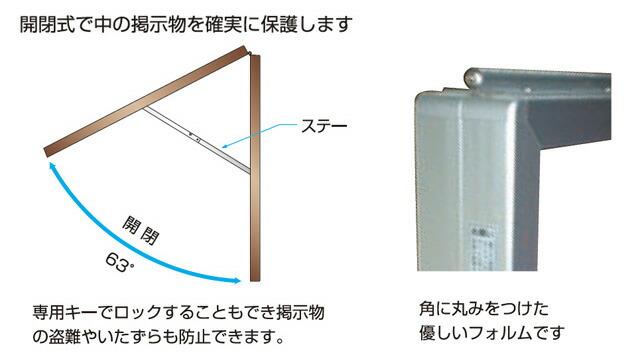 壁面用アルミ掲示板(中)構造2