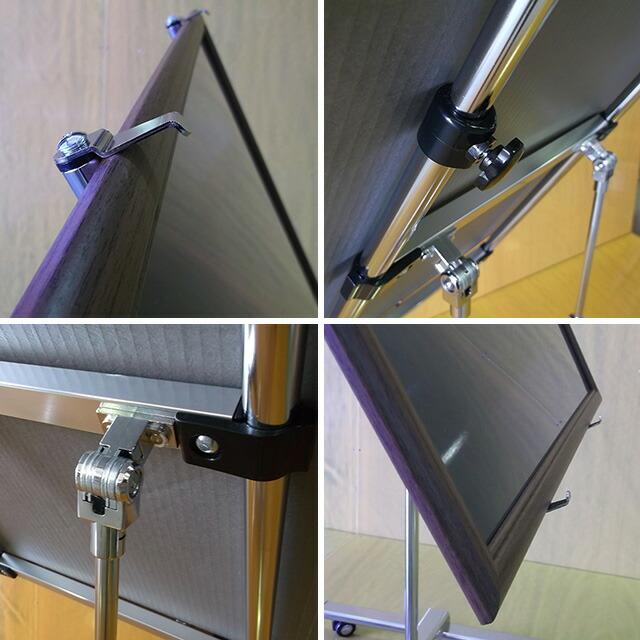 キャスター付き傾斜型パネル用スタンド使用例アップ