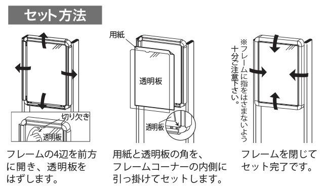 オープンフレーム式直立型ポスタースタンドセット方法