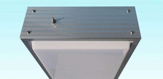 アルミ枠突き出し看板(角型)/タテ127cm×ヨコ45cm上部拡大