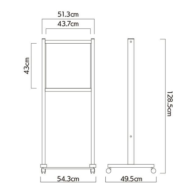 和風木目柄垂直サインスタンド看板(S)寸法