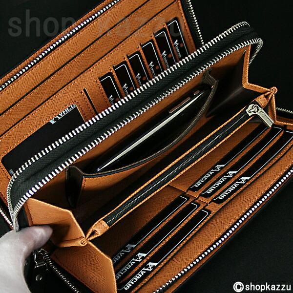セカンドバッグ メンズ スペインレザー 牛床革 メッシュ ダブルファスナー VACUA (4色)【VA-004】イメージ写真6