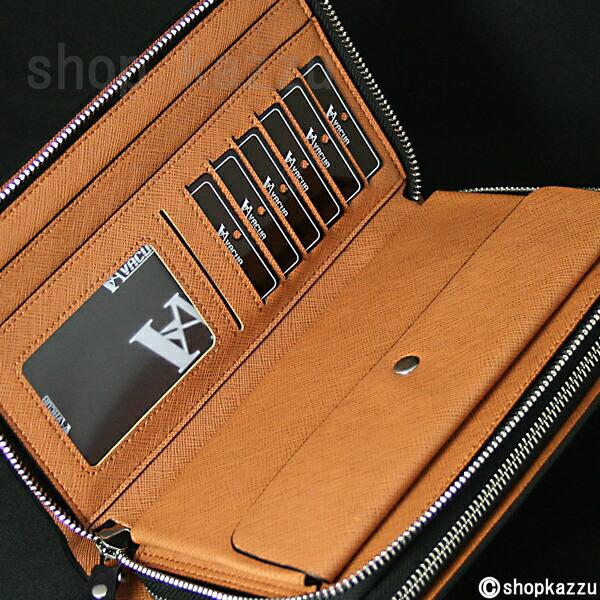 セカンドバッグ メンズ スペインレザー 牛床革 メッシュ ダブルファスナー VACUA (4色)【VA-004】イメージ写真7
