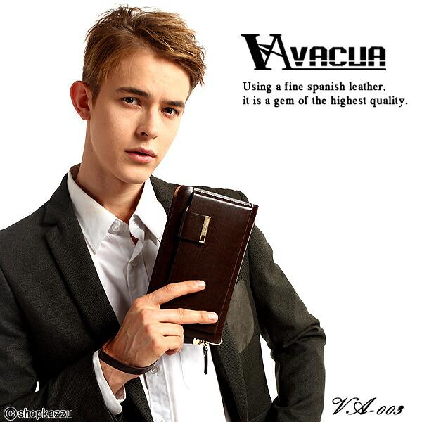 ラウンド長財布 メンズ スペインレザー 牛革 多機能 セカンドバッグ VACUA(2色)【VA-003】イメージ写真1
