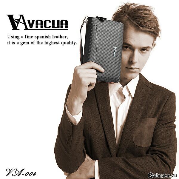 セカンドバッグ メンズ スペインレザー 牛床革 メッシュ ダブルファスナー VACUA (4色)【VA-004】イメージ写真1