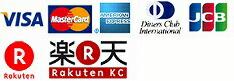 VISA,MasterCard,American Express,DinersClub,JCB,UFJ,NicoS,rakuten
