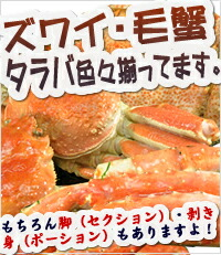 ズワイガニ・毛蟹・タラバガニ色々揃ってます。