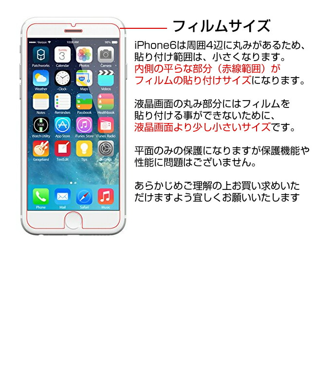 iPhone5/iPhone5S/iPhone5C用 ラウンドカット仕様アイフォン5s 強化ガラス 強化ガラス製フィルム【つけたまま指紋認証可能】