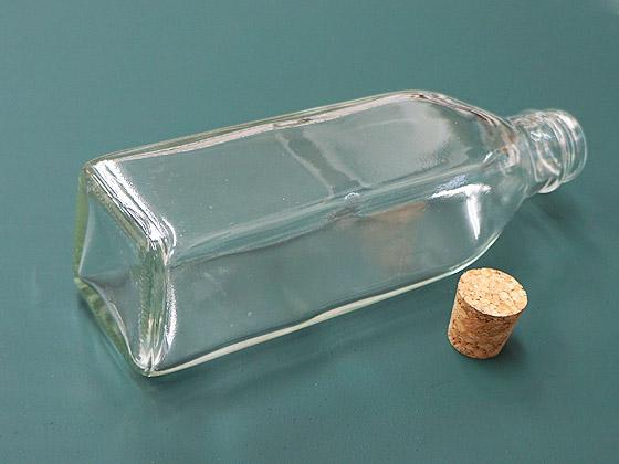 ガラス瓶 ソース200角 コルク栓付