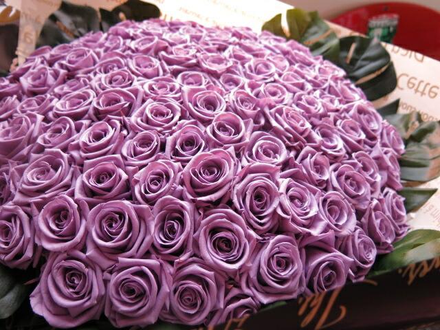 プリザーブドフラワー 紫バラ 花束