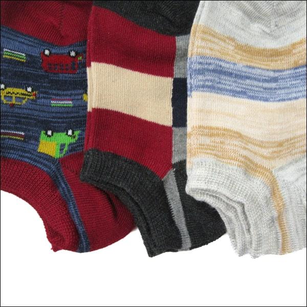 靴下 男の子 ショート丈ソックス 7足組 16〜20cm 色柄おまかせ set0633