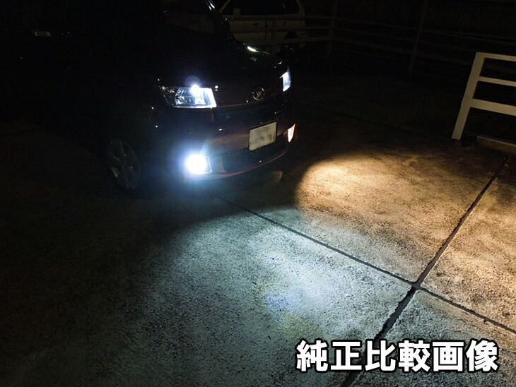 LEDフォグランプと純正フォグランプとの比較