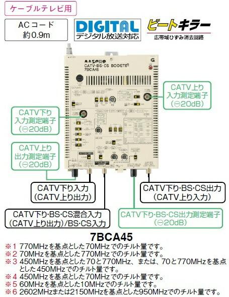 〔送料無料〕 マスプロ 双方向 屋内用 CATV・BS・CS ブースター 45dB型 7BCA45 (77BCA45A 後継品)