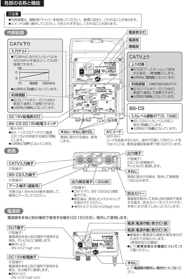 〔送料無料〕 〔まとめ買いお得〕 マスプロ 4K・8K衛星放送(3224MHz)対応 CATV・BS・CSブースター 10BCBW30U-B (7BCB28U後継品) 5台セット