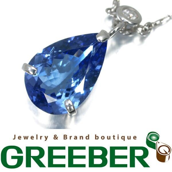 タンザナイト 2.37ct ダイヤ ダイヤモンド 0.22ct ネックレス K18WG【中古】GENJ