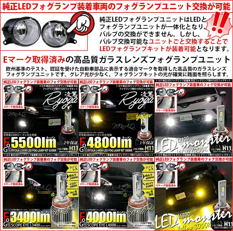 純正LEDフォグランプ装着車両のフォグランプユニット交換が可能!ガラスレンズフォグシリーズ
