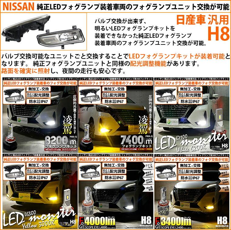 ニッサン 純正LEDフォグランプ装着車対応 ニッサン車対応 汎用H8フォグランプユニット
