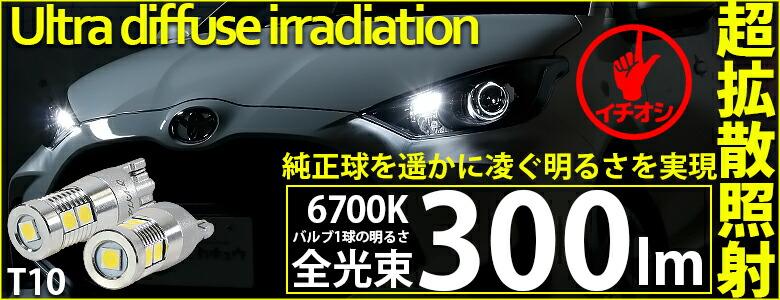 フィリップスルミレッズ超高効率LED 9個搭載 T10 300lmポジションランプ用LEDウェッジバルブ全光束300lm LEDカラー:ホワイト6700K 1セット2個入