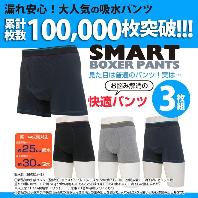 【無地3枚組】失禁パンツ スマートボクサーパンツ