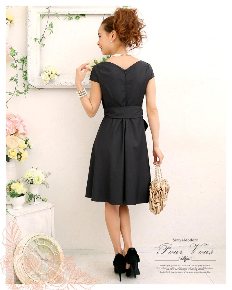 efc359a4de885 フレア ワンピース カシュクール 1398 半袖 セレブワンピース ドレス PourVous