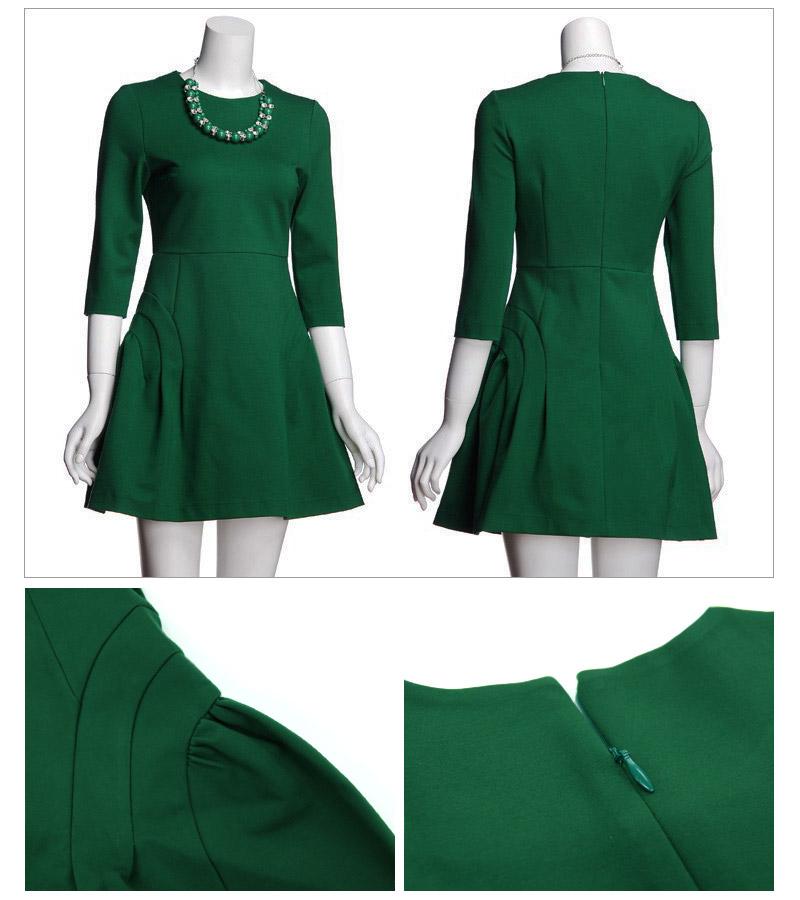 2a9eb99bb1381 フレア ストレッチ素材 ワンピース 1565 七分袖 セレブワンピース ドレス ...