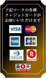 ご使用ォ可能なクレジットカードはビザ、マスター、アメリカンエクスプレス、JCB、ダイナーズ、楽天カードがご使用いただけます。