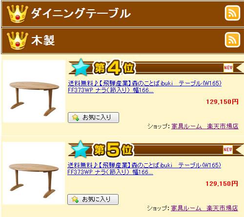 森のことばイブキibuki FF373WPダイニングテーブル