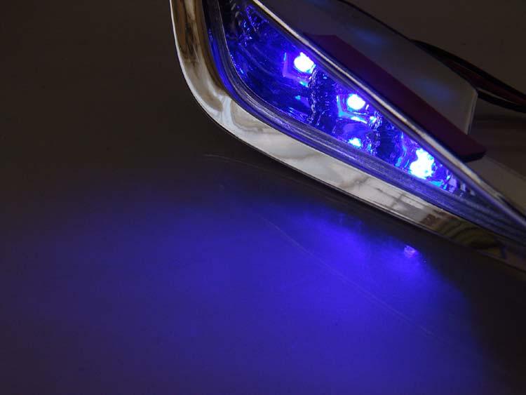 フォルツァX/Z MF08 メッキ フロント LED デイライト ダクト フォグランプ 青 (ブルー発光) パーツ ホンダ FORZA