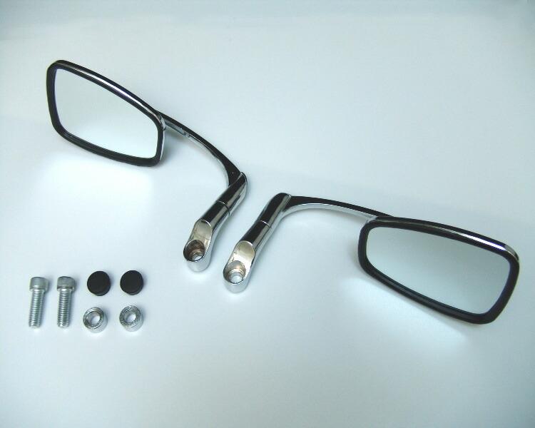 汎用メッキ角型ミラーバレンタイプネジ径【8mm】カスタムパーツ