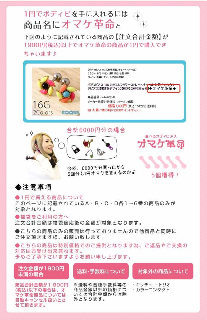 1円でボディピを手に入れるには商品名に1円オマケ革命対象と記載されている商品の注文合計金額が規定金額を超えている必要があります。