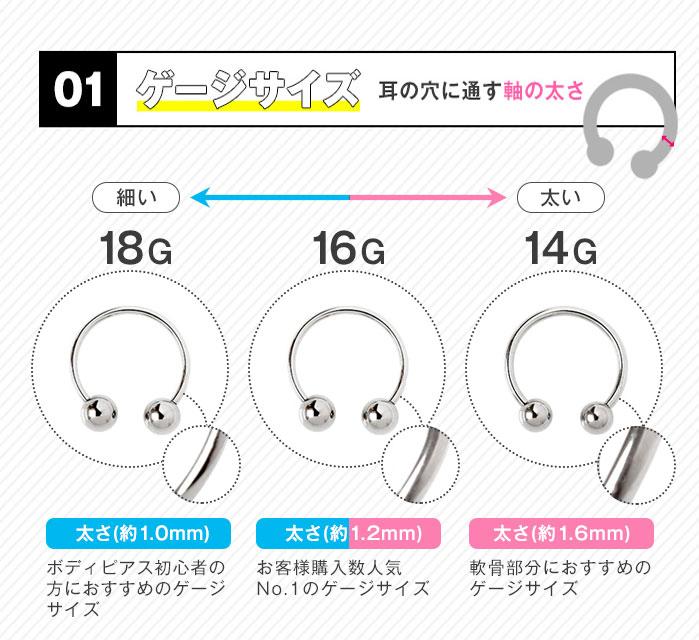 ゲージサイズ耳の穴に通す軸の太さ16G