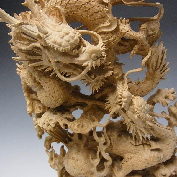 【楽天市場】柘植製 細工極み彫り双龍 木彫りの龍:龍祥本舗
