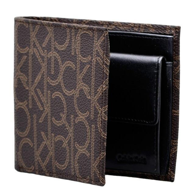カルバン・クライン Calvin Klein 二つ折り財布 CKモノグラム 財布 小銭入れ付き レザー ブラウン系 CHO BIFOLD W/COIN CASE cvk-79463-t8ach
