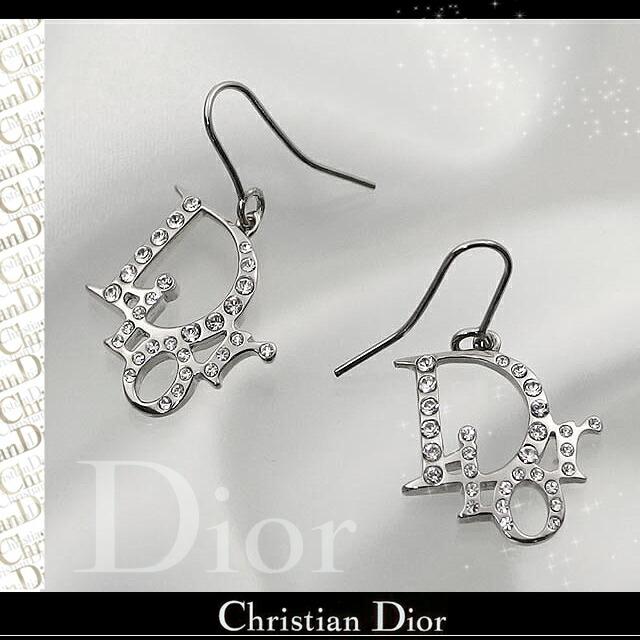 クリスチャンディオール イヤリング Diorロゴ ピアス シルバー×クリスタル