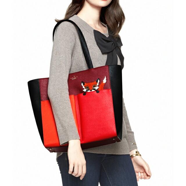 ケイト・スペード kate spade NEW YORK Multi Blaze A Trail Fox Pocket Tote キツネ ポケット ショルダー・トートバッグ A4サイズ対応