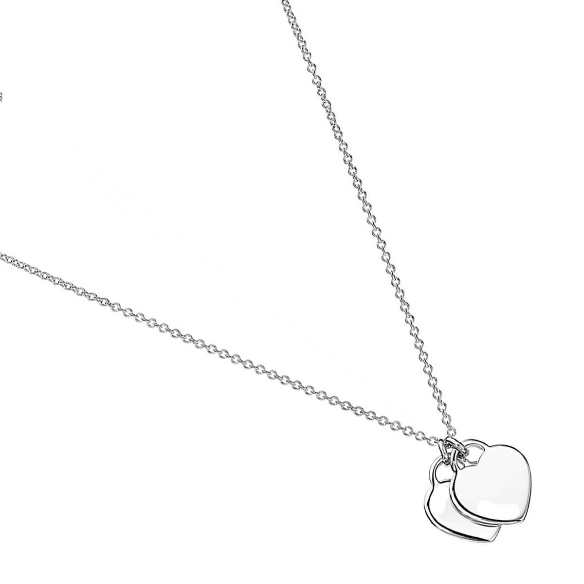 Simple two heart necklace