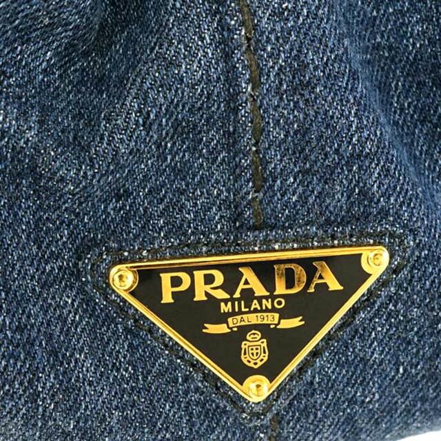 プラダ PRADA 1BG642 AJ6 F0008 カナパ CANAPA 2WAY トートバッグ ハンドバッグ ショルダーストラップ付き ブルー BLU ネイビーブルー+ゴールド