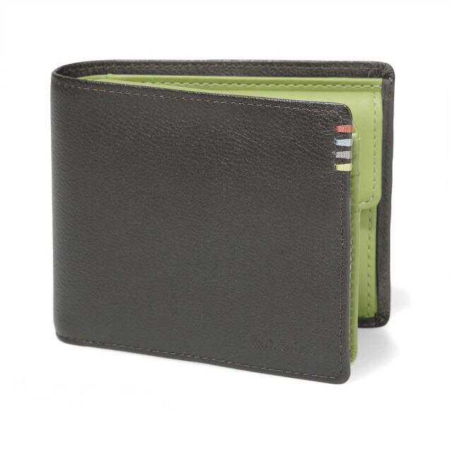 ポールスミス コントラストインサイド 小銭入れ付き 二つ折り財布 メンズ ダークブラウン×グリーン
