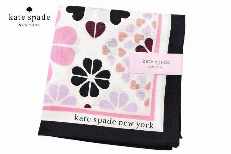 ケイト スペード ニューヨーク ハンカチ レディース 1枚 ブランド kate spade new york ホワイト 系 フラワー ハート プリント 女性 婦人 ケート 【あす楽】