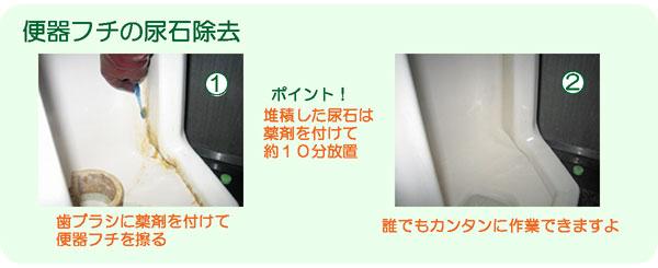 便器フチの尿石除去・掃除方法