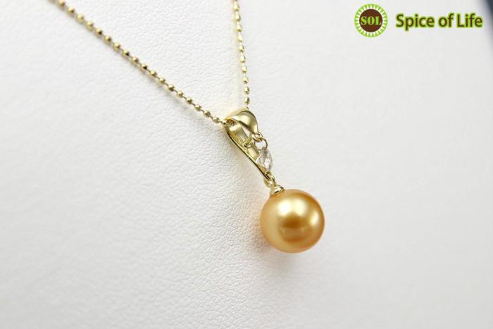 真珠ゴールド一粒ネックレス(side1)